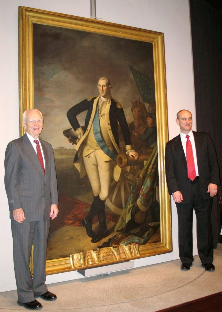 "Clarence Prickett, left, and his son Todd in January 2006 after acquiring ""George Washington at Princeton"" by Charles Willson Peale for a record $21.3 million."