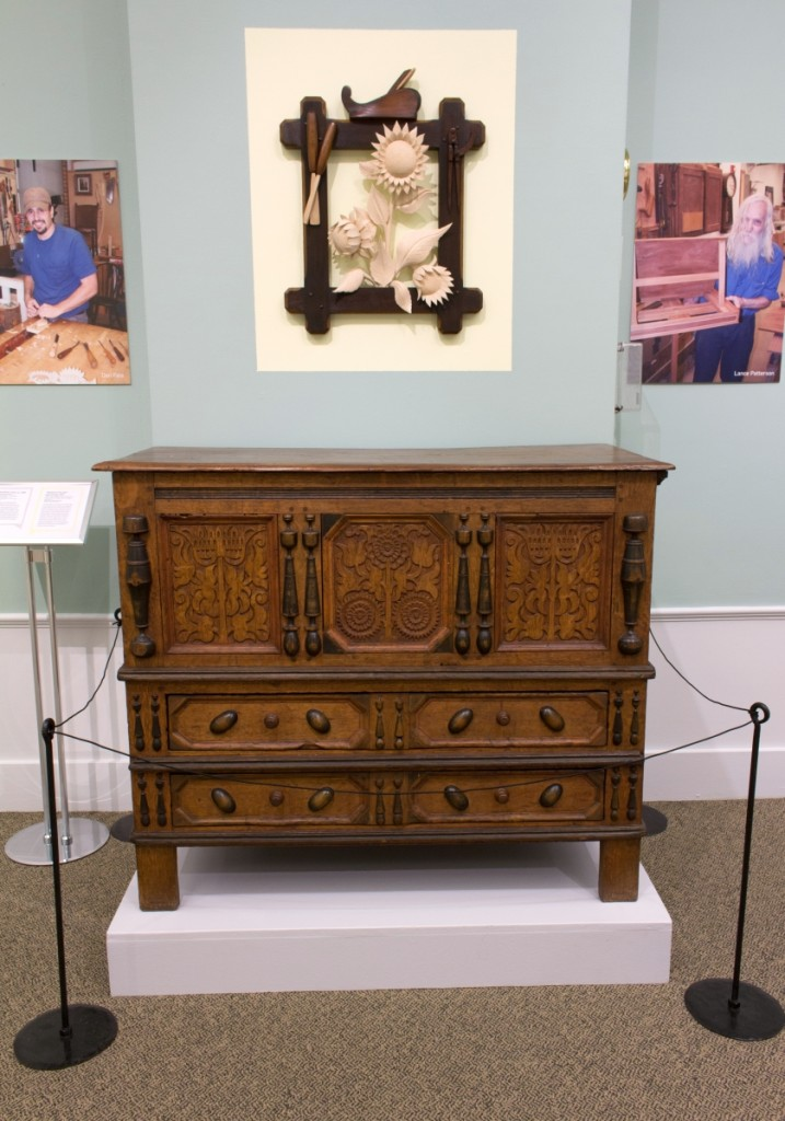 Shown here is the Connecticut Sunflower chest that provided the inspiration for Dan Faia's three-dimensional sunflower still-life, shown here above.