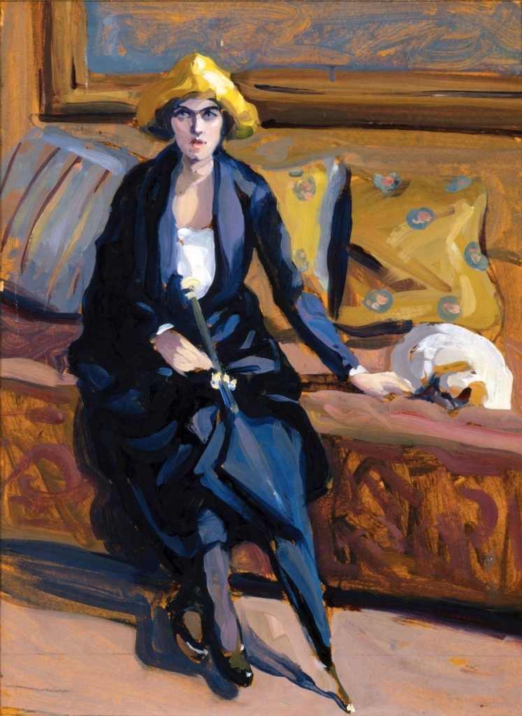 """The Accused and her Dog (Woman with Umbrella),"" undated. Oil on board, 16-7/10 by 12-1/5 inches. Collection of Dominique Riviere. Image courtesy Doyle New York."