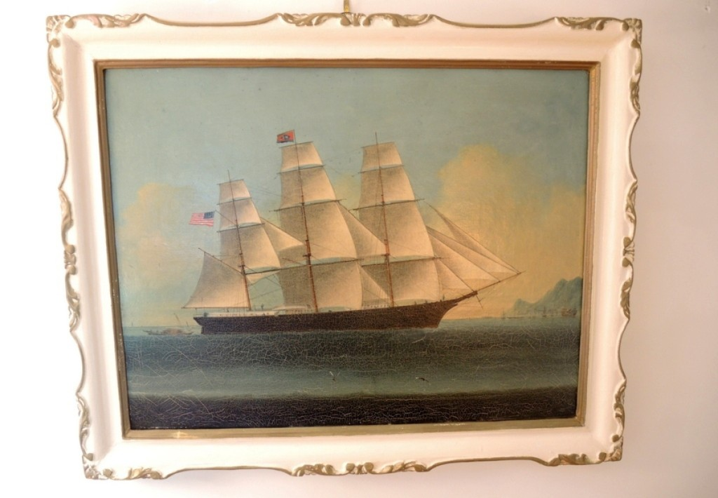 According to an old label on the back of the painting, The Mary Goodell, in a repainted frame, unsigned, achieved $4,200.