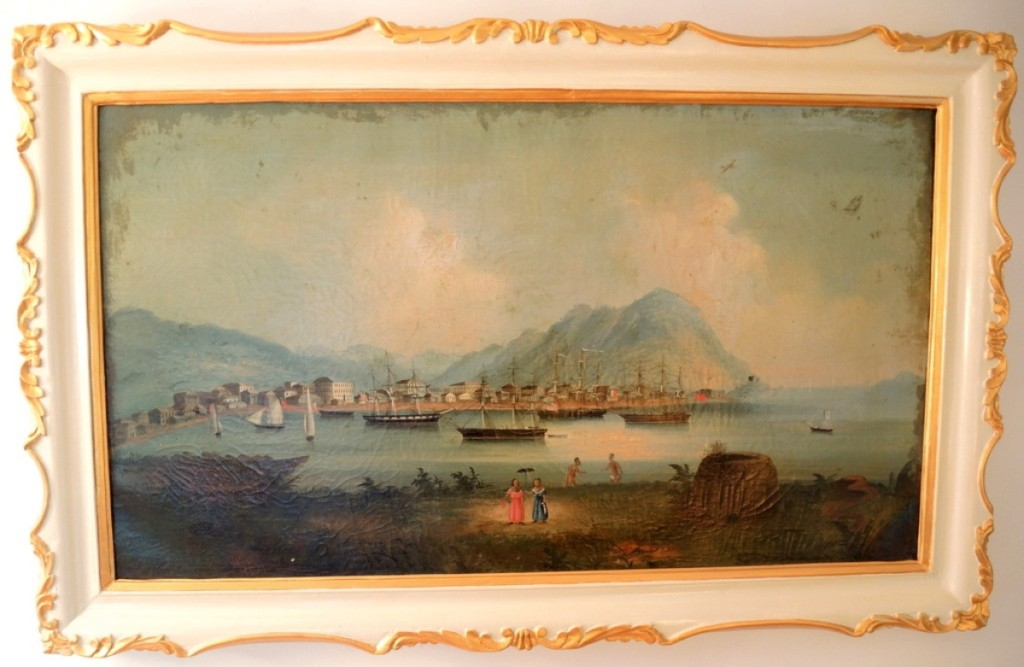 The top lot in the sale, this scene of a Hong Kong harbor in a repainted frame sold to a phone bidder for $8,260.