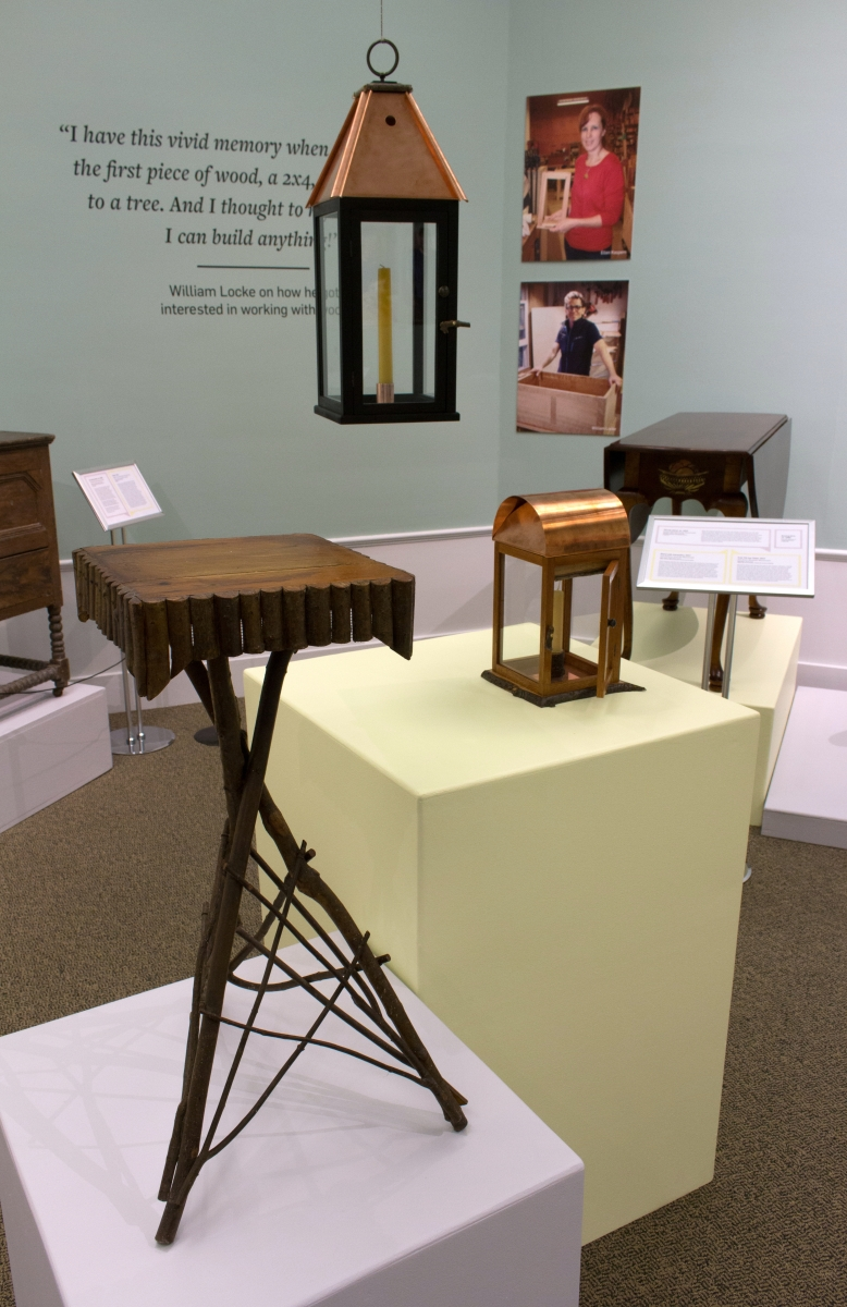 The twig table shown left was the inspiration for Ellen Kaspern's copper and twig lantern, right.