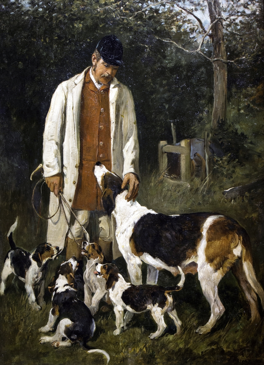 "English painter John Emms (1843–1912) was the favorite artist of Pebble Hill's owners. From the permanent collection, this view of a ""Huntsman, Hound and Puppies"" records a scene not unlike sporting activities that took place on the plantation."