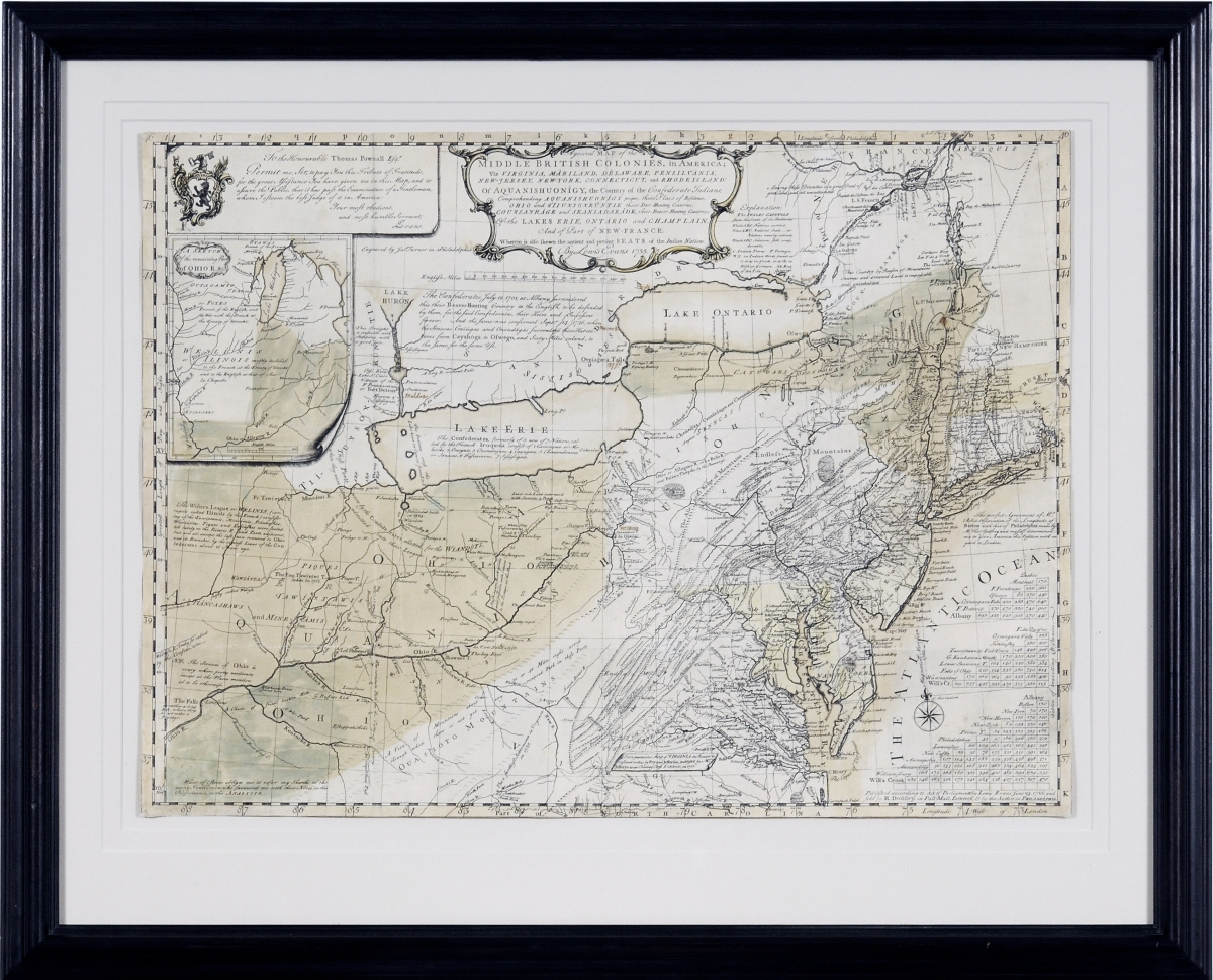 "Bringing $102,000 was ""A General Map of The Middle British Colonies, in America; Viz Virginia, Màriland, Dèlaware, Pensilvania, New-Jersey, New-York, Connecticut, And Rhode Island,"" 1755, by Lewis Evans (circa 1700–1756); James Turner (1722–1759), engraver; Robert Dodsley (1703–1764), publisher."