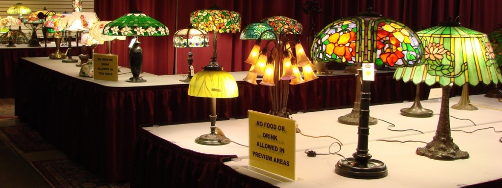 Just a few of the many Tiffany, Handel and Pairpoint lamps included in this sale.