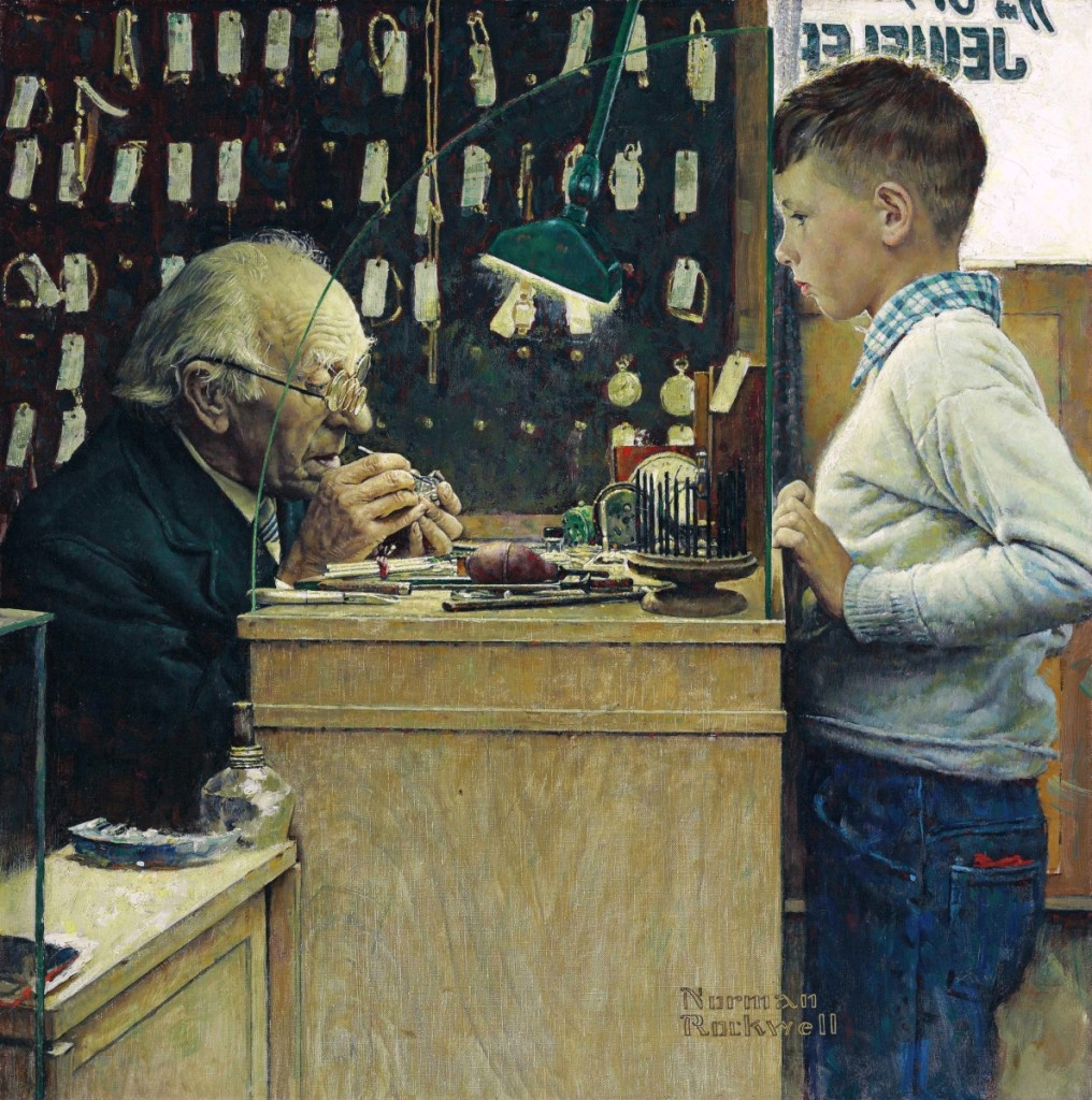 """What Makes It Tick? (The Watchmaker)"" by Norman Rockwell (1894–1978), 1948, oil on canvas, 26¼ by 26 inches, $7,287,500 ($4/6 million). Christie's"
