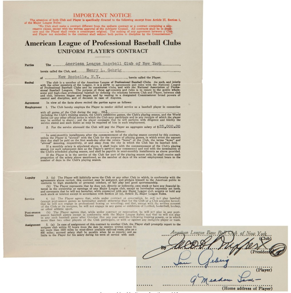 Lou Gehrig's 1931 Yankees contract commanded $216,000, one of the top lots of the auction.
