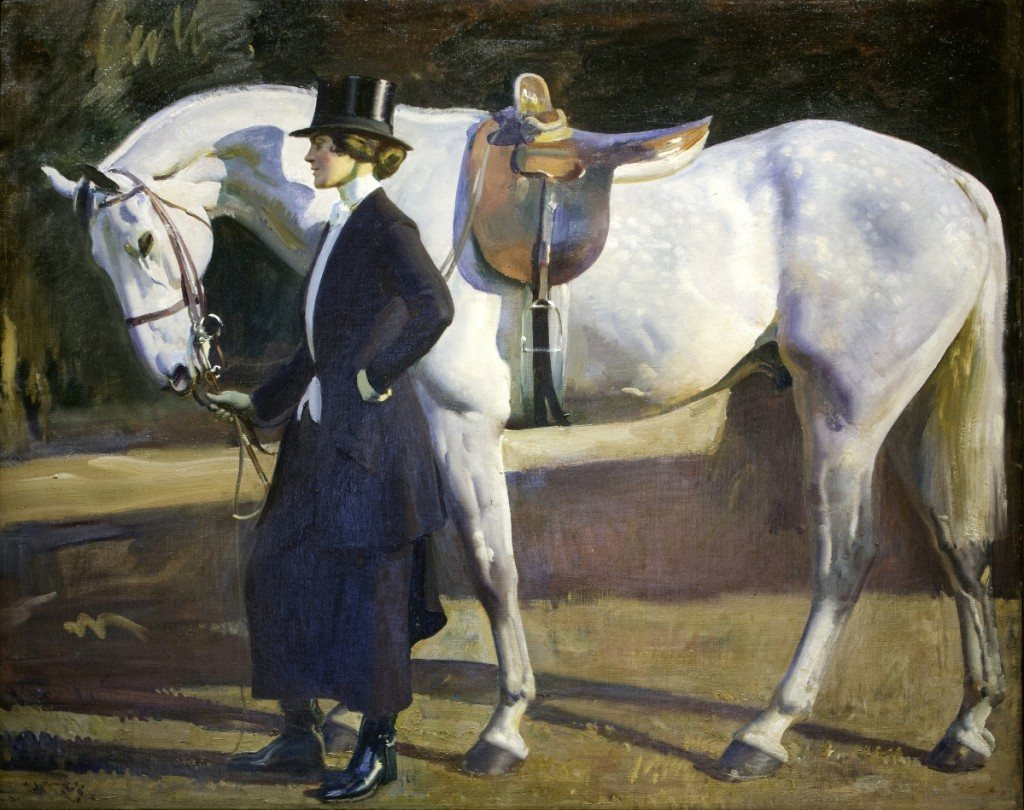 "Sir Alfred Munnings (1878–1959) was one of England's finest painters of horses. A treasure in the Pebble Hill Plantation collection, ""The Artist's Wife and 'Isaac'"" depicts Violet McBride, whom Munnings married in 1920, with her favorite mount."
