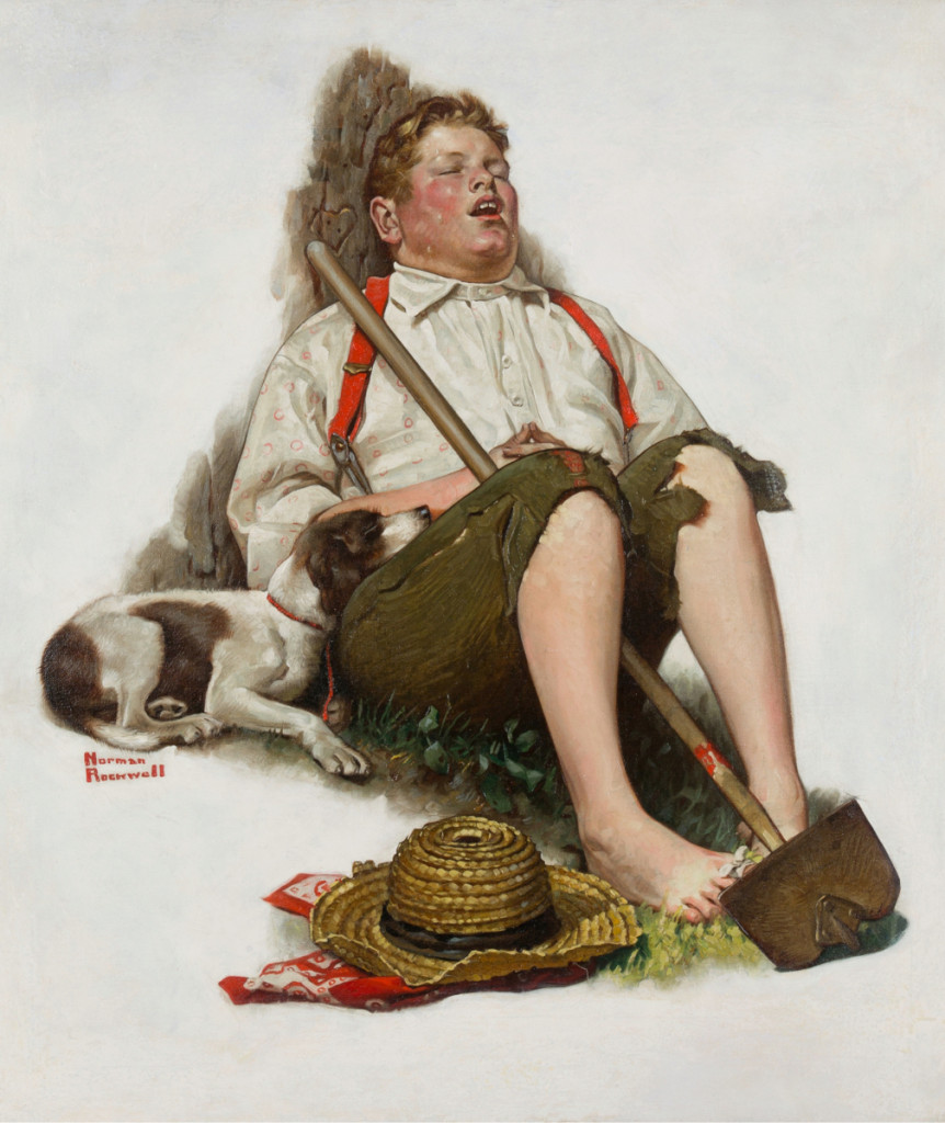 """Lazybones"" by Norman Rockwell (1894–1978), 1919, published as Saturday Evening Post cover published September 6, 1919, oil on canvas, 26 by 24 inches, $912,500 ($1/1.5 million). Heritage."