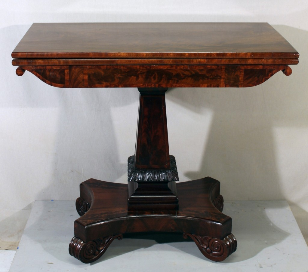 Grecian card table, attributed to Thomas Seymour, Boston,circa 1818, mahogany, ash, brass and iron;from the collections at The Old Manse (OM.SP.A.8)