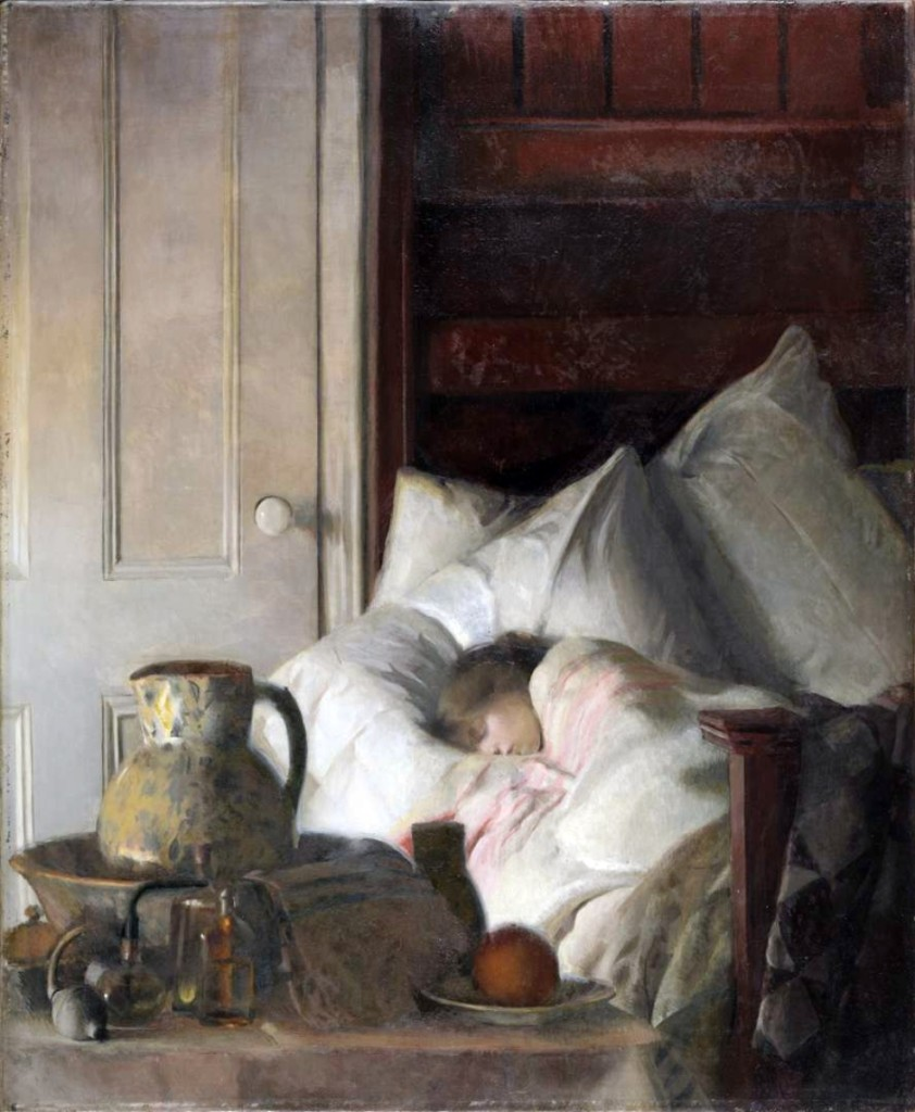 """Sick a-Bed"" by Elizabeth Okie Paxton (1877-1971), 1916, oil on canvas. Pennsylvania Academy of the Fine Arts."
