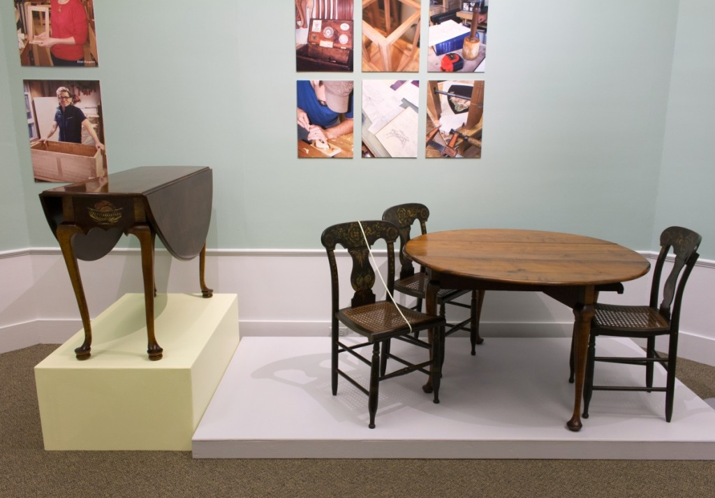 Ronald Trapasso (NBSS '69) was struck by the beauty of the Alcott family drop leaf table shown right, and wanted to create a piece that paid homage to the table's specific provenance. His table is shown on the left.