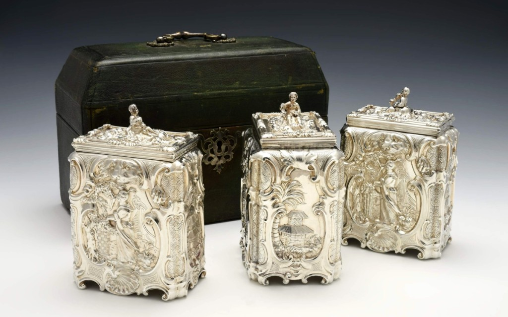 The Huntington Museum of Art in Huntington, W.Va., acquired this three-piece sugar and tea caddy set in the tea-pickers pattern by Huguenot-trained Royal goldsmith Thomas Heming (1722–1801), who made the set in 1757. It belonged to Queen Elizabeth II and, more recently, the American bibliophile Robert Pirie (1934–2015). —John Spurlock photo