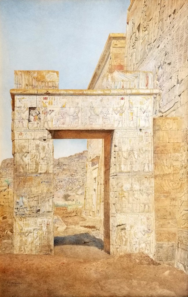 """The Gateway, Philae"" by Henry Roderick Newman (1843–1917), 1892, watercolor, 26 by 17 inches."