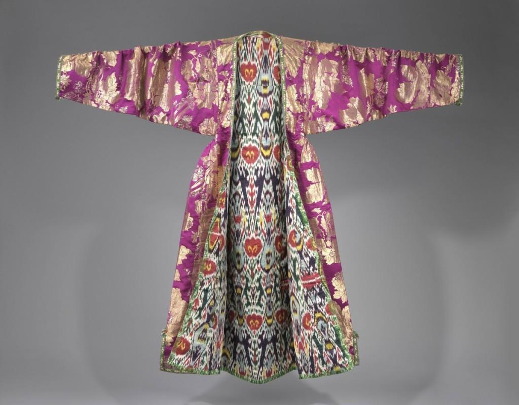 Woman's coat (kaltachak), Bukhara, Uzbekistan, late Nineteenth Century. Brocaded silk; ikat-dyed silk and cotton lining. The Israel Museum, Jerusalem, B64.12.4226.