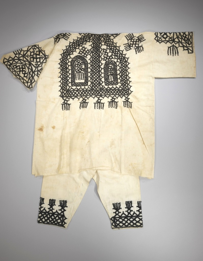 "Boy's blouse for a symbolic ""children's wedding"" Tafilalet, Morocco, mid-Twentieth Century; cotton, cotton-thread embroidery. The Zeyde Schulmann Collection in the Israel Museum, Jerusalem, B63.10.2680"