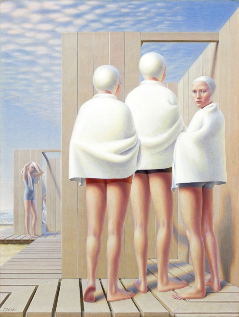 """""""Bathers (Bath Houses)"""" by George Tooker (1920–2011), 1950. Egg tempera on gessoed board. The Huntington Library, Art Collections and Botanical Gardens"""