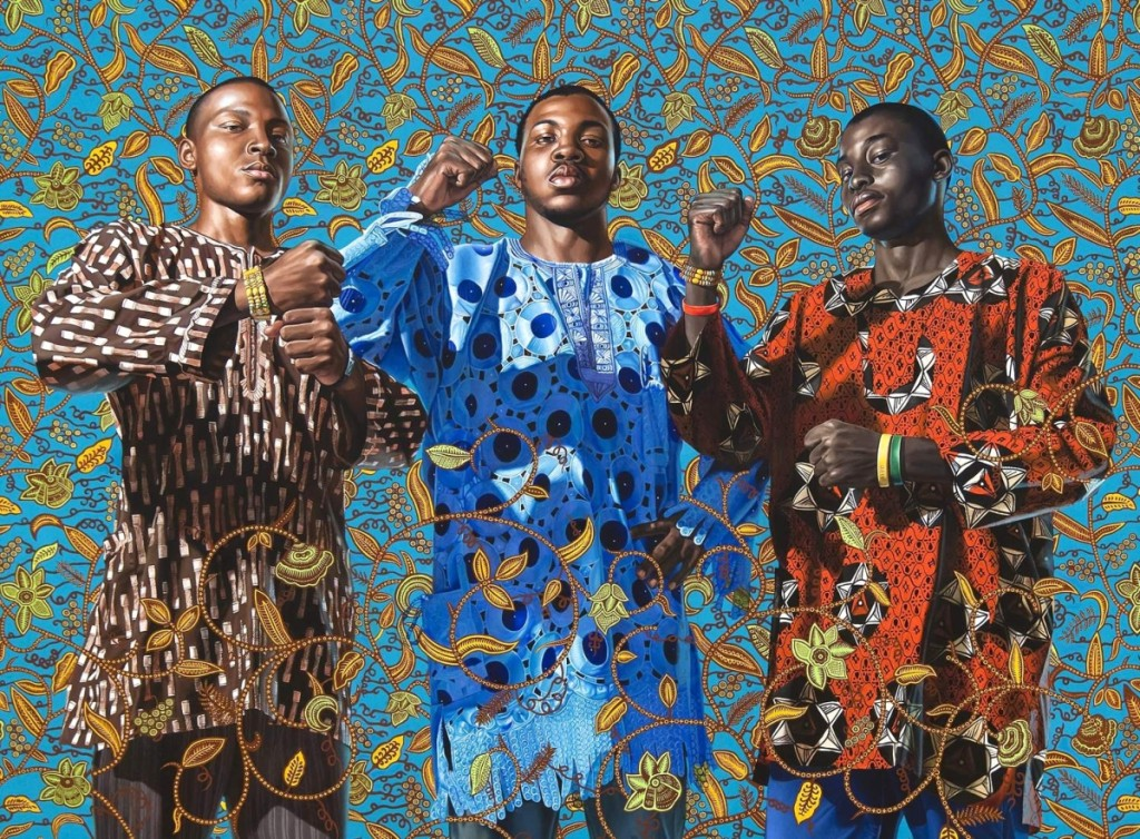 """Three Wise Men Greeting Entry into Lagos, 2008,"" by Kehinde Wiley (b. 1977), oil on canvas. Pennsylvania Academy of the Fine Arts."