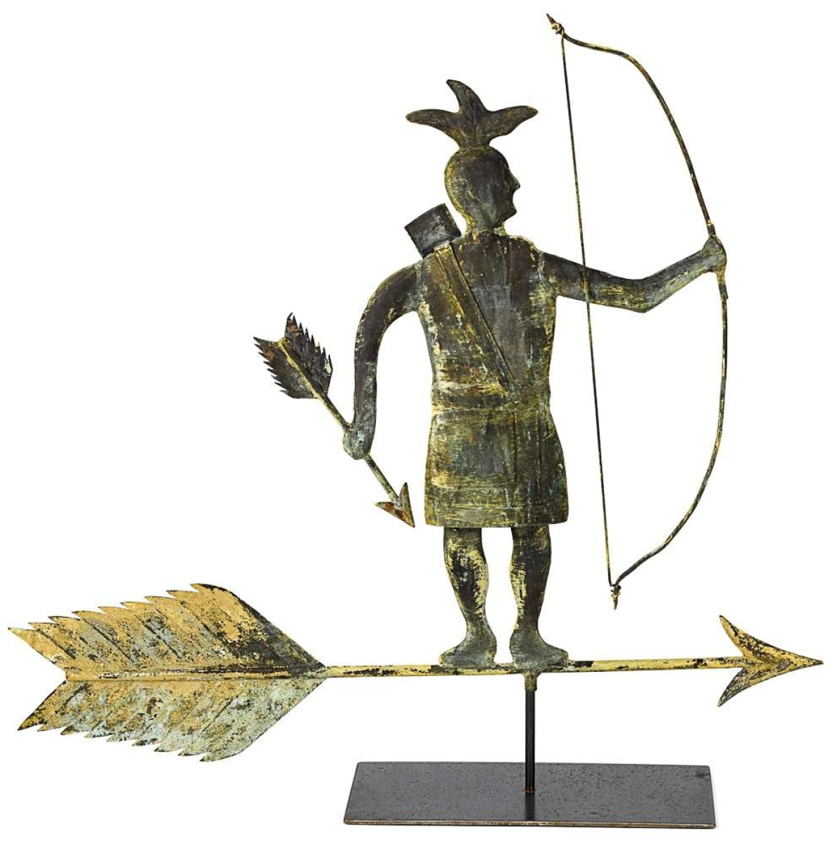 This Nineteenth Century Harris & Company weathervane depicts the Wampanoag sachem Massasoit (circa 1581–1661), who collaborated with the Plymouth Colony elders. Measuring 35 inches tall, the molded copper figure with traces of gilt and verdigris on its weathered surface was the sale's top lot, crossing the block at $20,740 ($18/$25,000).