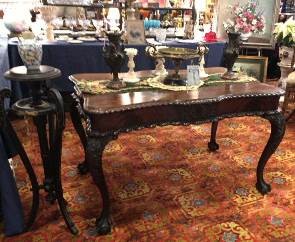 Michael Chellel operates his business, The Studio, in New Bedford, Mass. He specializes in Nineteenth Century interiors, including upholstery and window treatments. He was exhibiting a circa 1870 bronze and marble tazza, at $750.