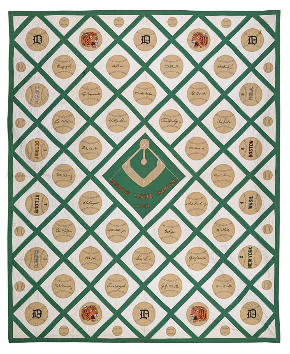 Pook hit it out of the park with this baseball-themed quilt, a favorite of company appraiser and auctioneer Jamie Shearer. Dedicated to the 1934 American League Champion Detroit Tigers, the $19,520 ($10/12,000) autograph-style bed covering, which went to a museum, is embroidered with the signatures of the team's 28 players, among them Hank Greenberg.
