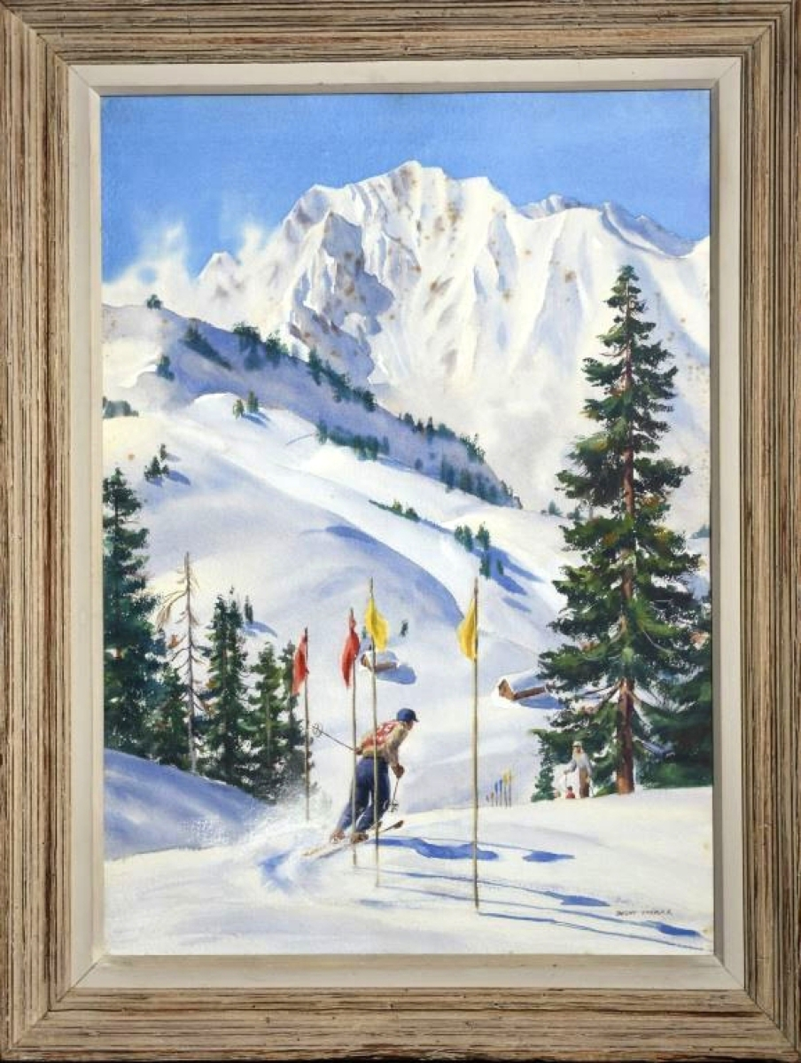 "Perhaps a record for a watercolor by Dwight Shepler, this scene of a skier in a mountainous landscape was inscribed on the back, ""Wasatch Slalom."" It brought $7,360."