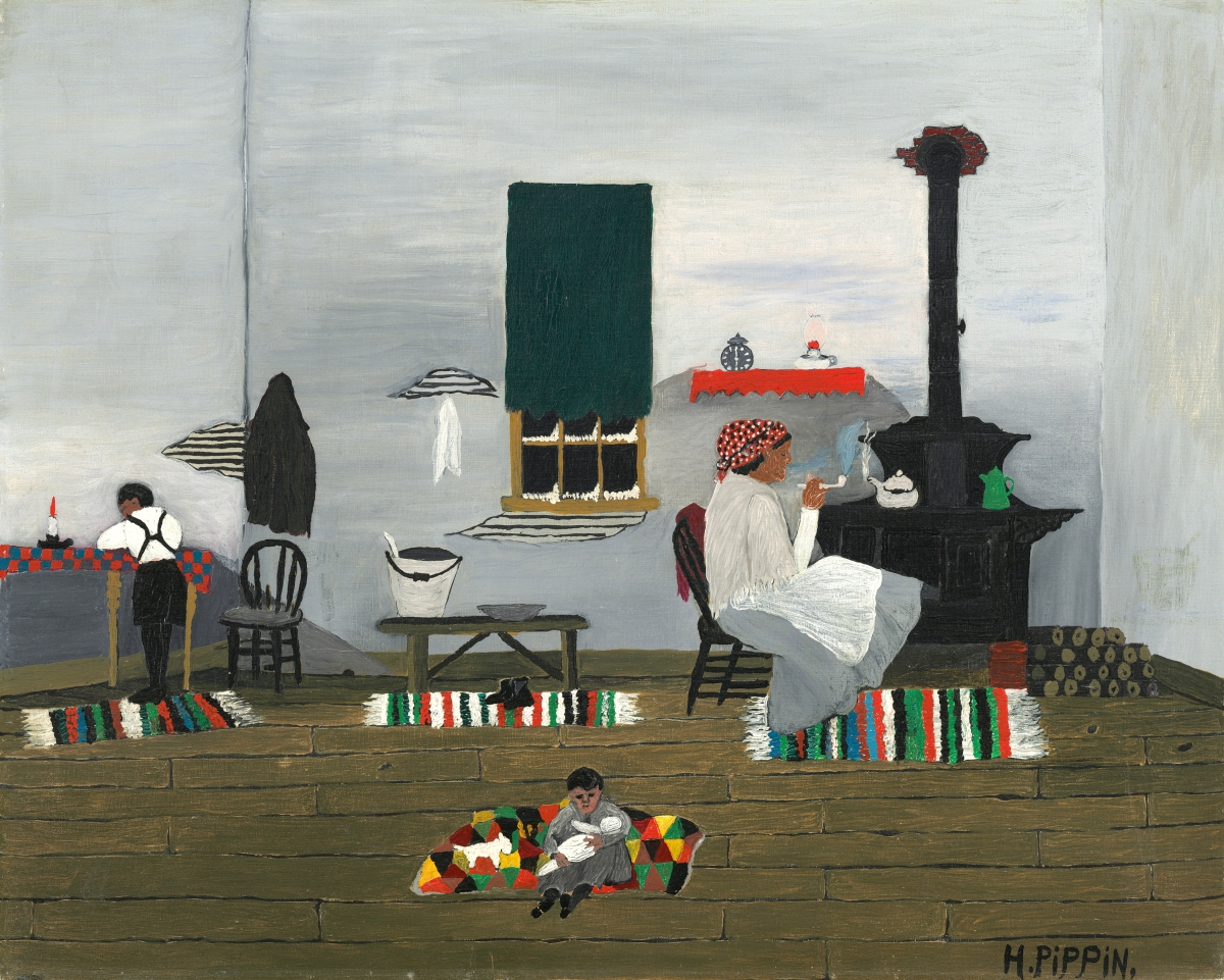"""Interior"" by Horace Pippin, 1944. Oil on canvas. National Gallery of Art, Washington, gift of Mr and Mrs Meyer P. Potamkin, in honor of the 50th anniversary of the National Gallery of Art."