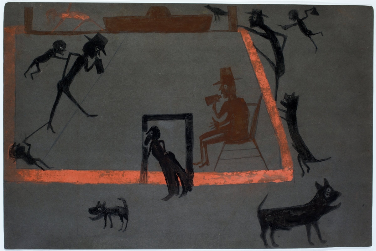 """Men Drinking, Boys Tormenting, Dogs Barking"" by Bill Traylor, circa 1939–42. Opaque watercolor on card with dark gray prepared surface. Collection of Jill and Sheldon Bonovitz, promised gift to the Philadelphia Museum of Art."