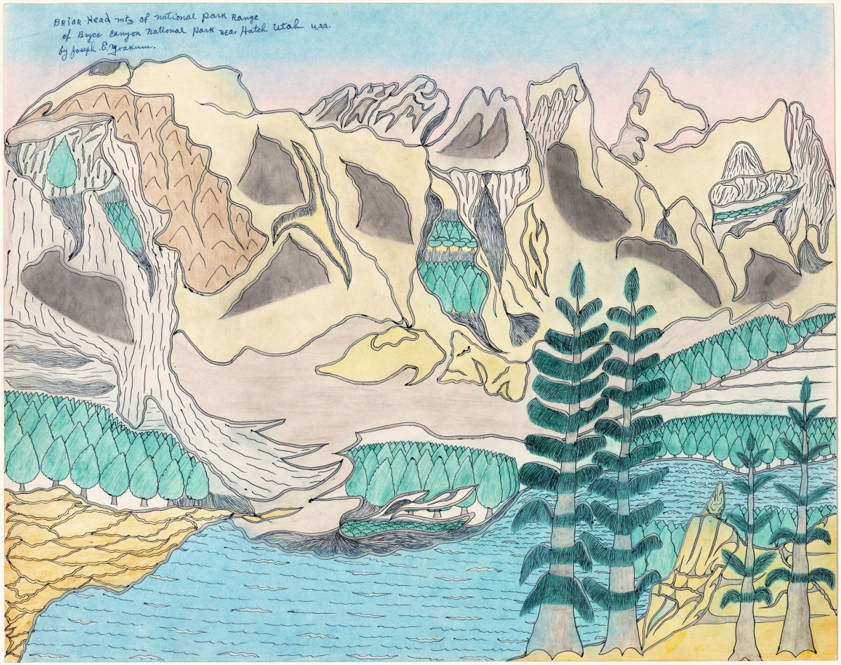 """Briar Head Mtn of National Park Range of Bryce Canyon National Park near Hatch, Utah U.S.A."" by Joseph Yoakum, circa 1969. Blue-black and black ballpoint pen and colored pencil on paper. National Gallery of Art, Washington, gift of the Collectors Committee and the Donald and Nancy de Laski Fund."