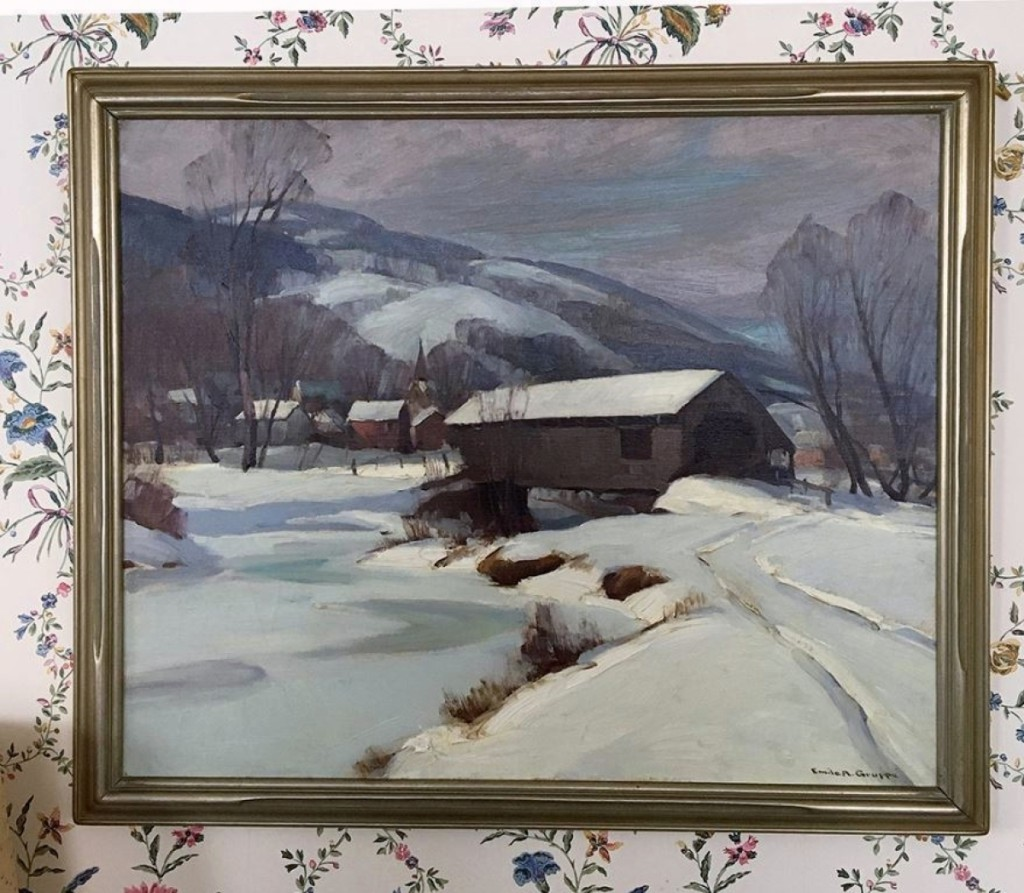 One of the higher prices of the day was earned by this New England winter scene with a covered bridge. It had been done by Emile Gruppe and finished at $5,750.