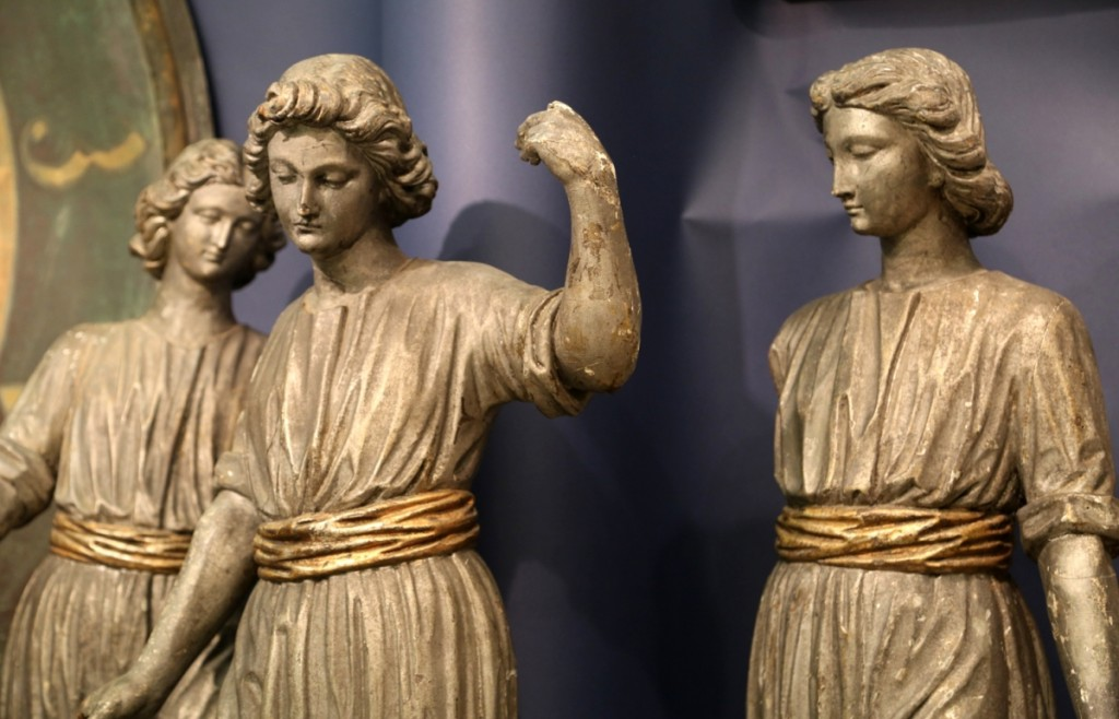 The three muses were hanging out in the booth of Judith and James Milne of At Home Antiques, Kingston, N.Y. They featured original paint and finish.