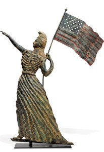 A rare and important painted and molded copper Goddess of Liberty weathervane, possibly J.L. Mott Ironworks, New York, circa 1880 ($100/150,000). —Sotheby's