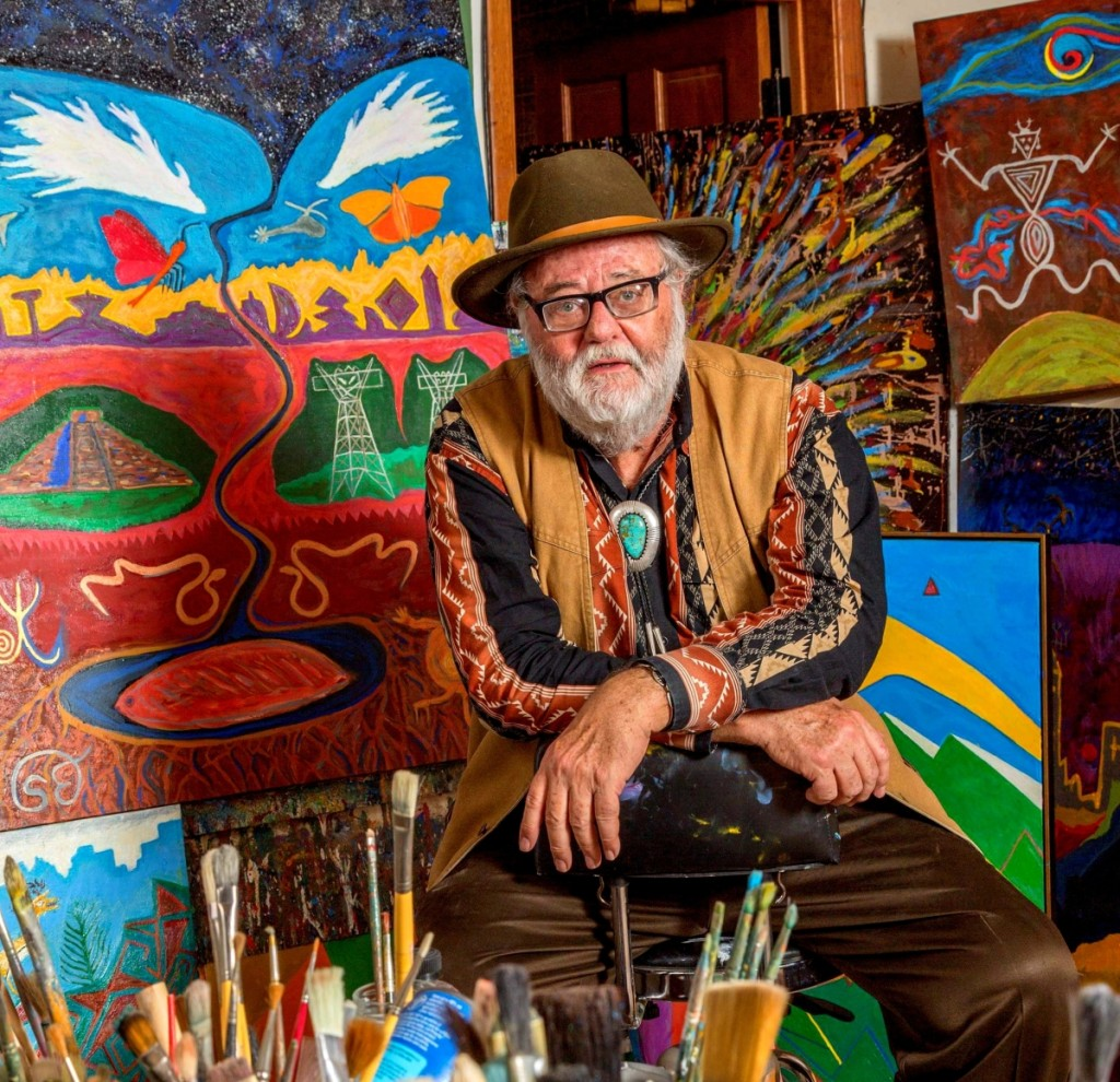 Santa Fe dealer Steve Elmore in his gallery cum studio.   Photos courtesy Dan Quat.