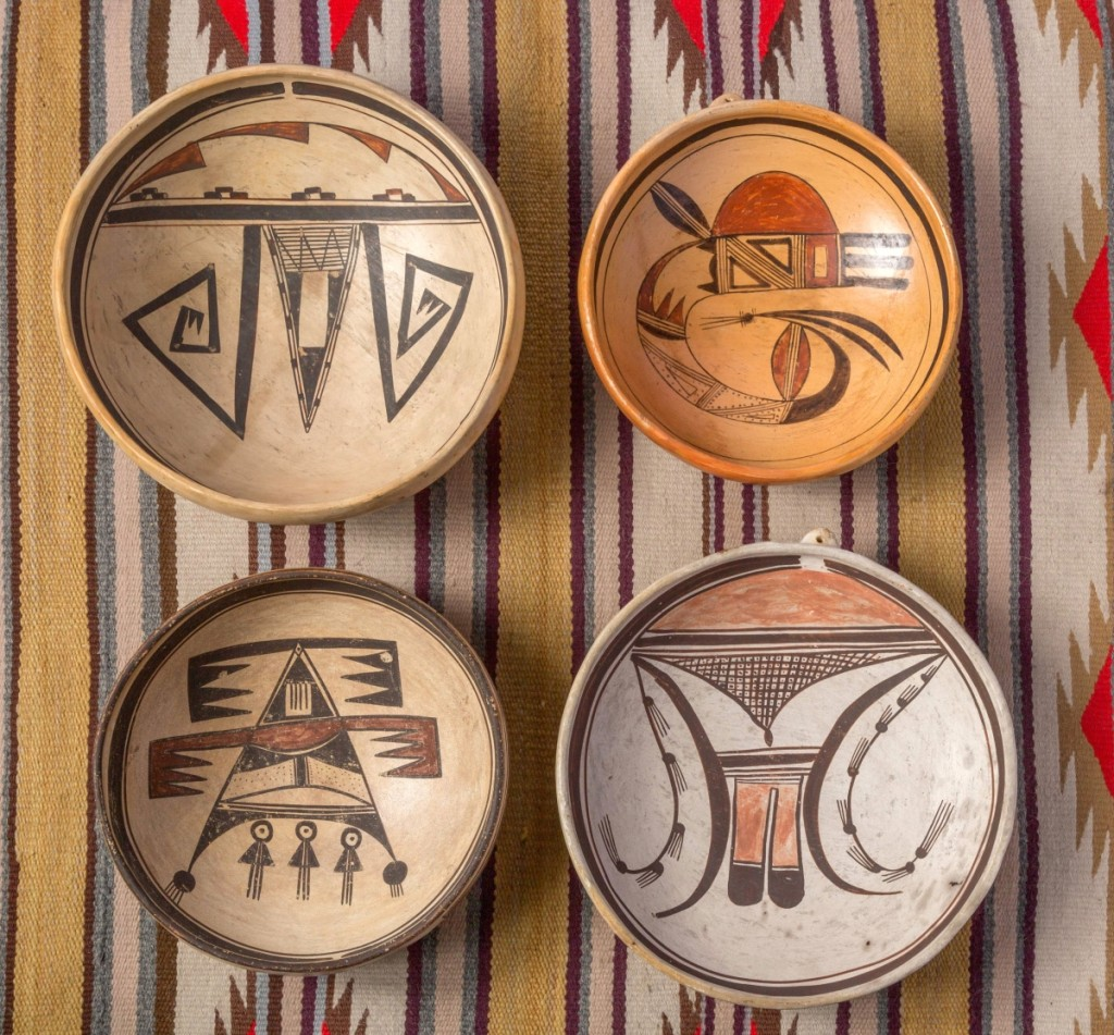 Four bowls by Nampeyo, the Hopi potter who revived and interpreted ancestral designs.