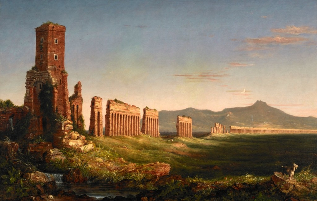 """Aqueduct near Rome"" by Thomas Cole, 1832. Oil on canvas, 45 by 68-  inches. Mildred Lane Kemper Art Museum, Washington University, St Louis."