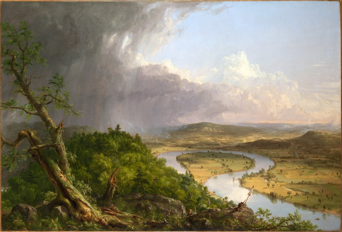 """View from Mount Holyoke, Northampton, Massachusetts, after a Thunderstorm — The Oxbow"" by Thomas Cole, 1836. Oil on canvas, 51½ by 76 inches. Metropolitan Museum of Art, gift of Mrs Russell Sage, 1908. Image ©The Metropolitan Museum of Art"