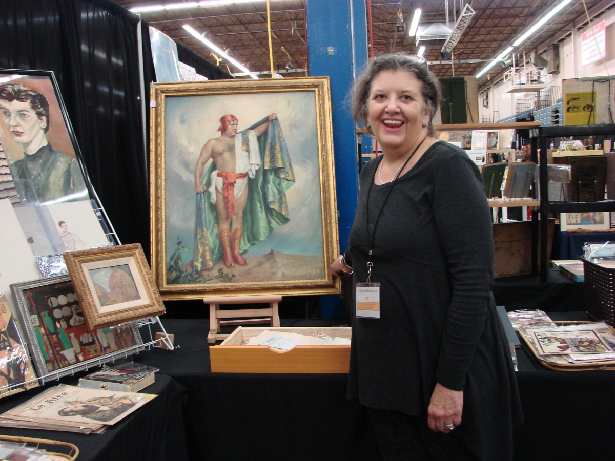 "Lisa Bouchard, Melrose Books and Art, described this painting as ""High Bad Art"" and said it reminded her of the tale of the Emperor Has No Clothes. She was asking $350 for the painting."