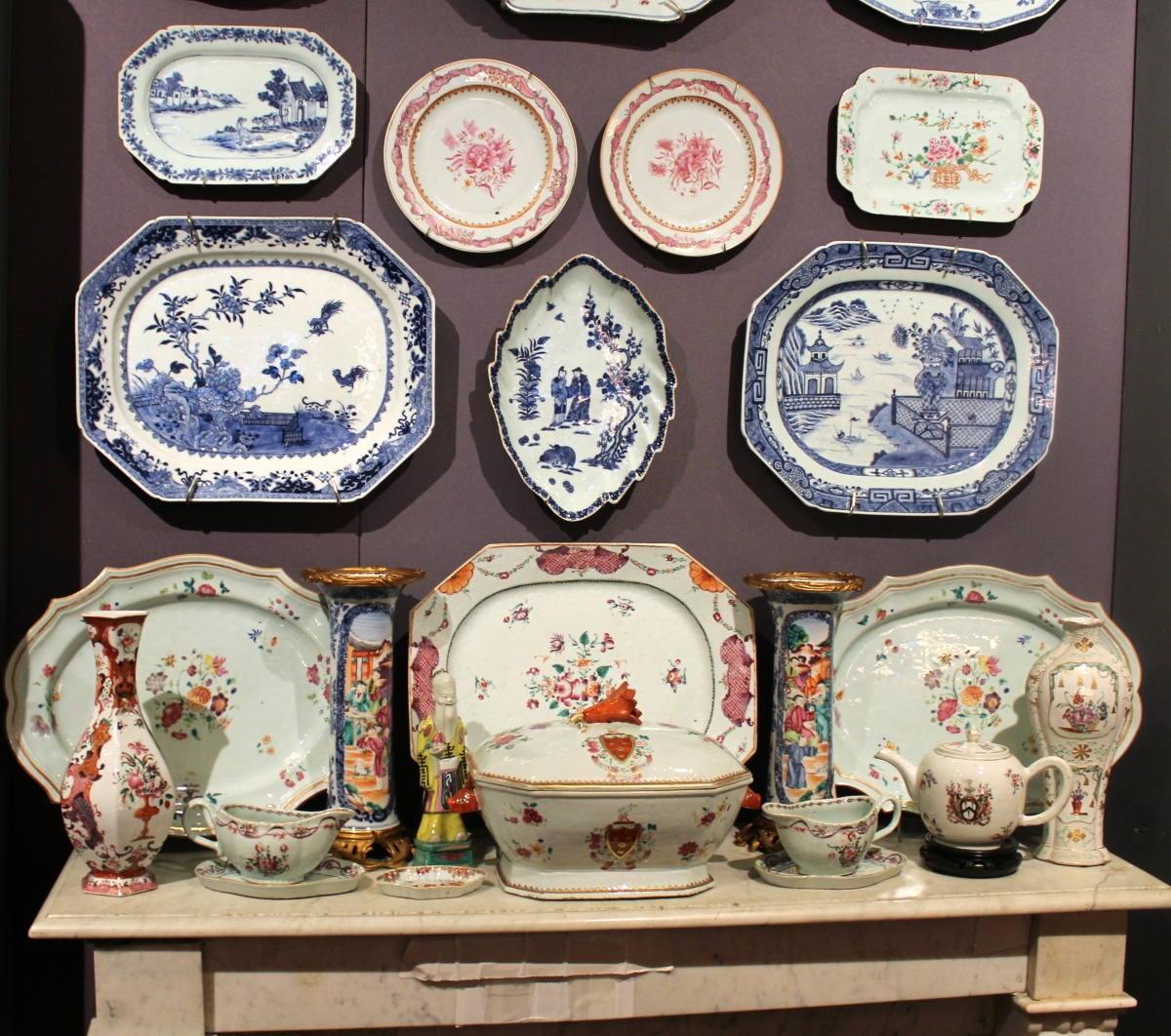 Collection of Chinese export porcelain, including underglaze blue and white, famille rose and armorial examples, shown by Lynda Willauer Antiques, Nantucket, Mass.