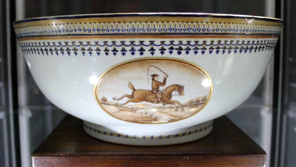 To the hunt! This equestrian-themed punch bowl, circa 1790–1800, featured sepia roundels after European prints of the period. Such pieces were popular in the mid-Atlantic and Southern states, according to Polly Latham, Boston, where an English lifestyle was emulated.