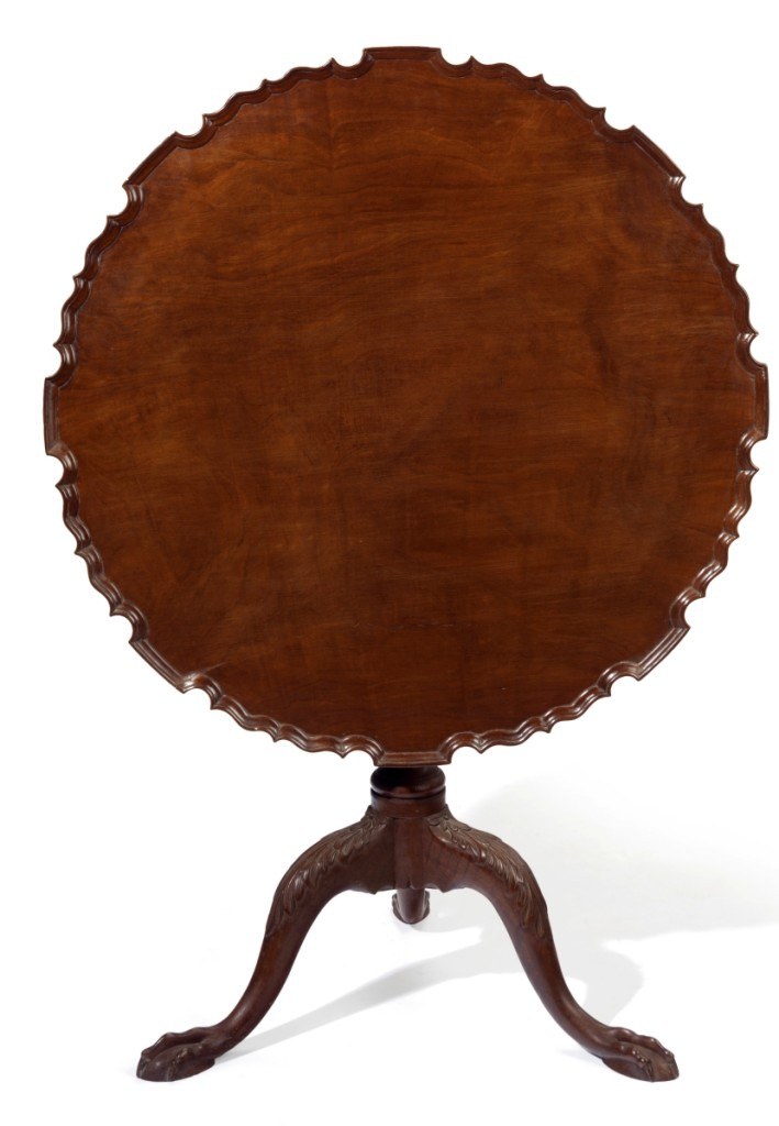 The Savage family Chippendale carved mahogany scallop-top tea table, Eastern Massachusetts, 1760–80 ($30/50,000). —Christie's