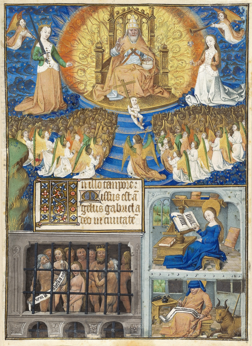 Parliament of Heaven and a rare depiction of Limbo, Book of Hours, Northeastern France or Paris, circa 1465, illuminated by the Master of Jacques de Luxembourg. Image courtesy of Dr. Jörn Günther, Rare Books AG.