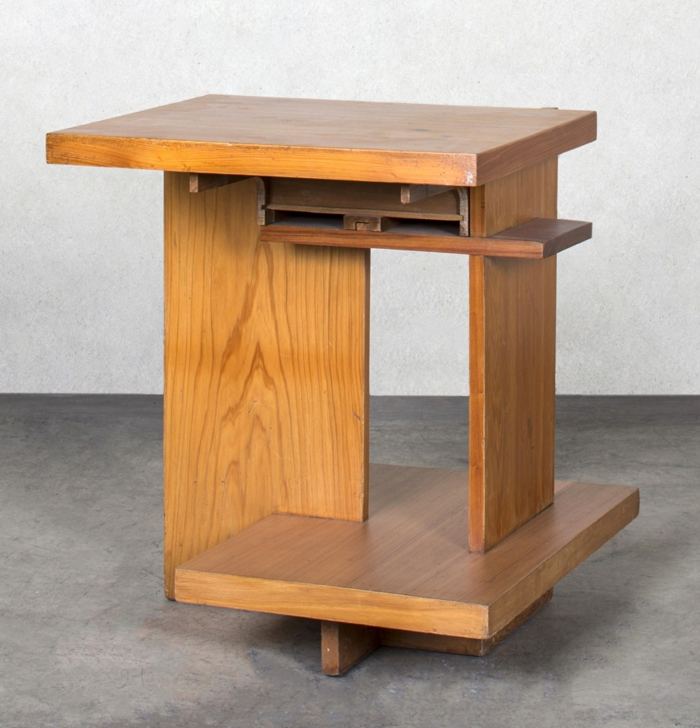 "Frank Lloyd Wright (American, 1867–1959), end table with one drawer for the Misses Charlcy and Gabrielle Austin's ""Broad Margin"" House, Greenwood, S.C., circa 1951, tidewater cypress. Photo courtesy of Friedman Benda and Frank Lloyd Wright.  —Dan Kukl photo"