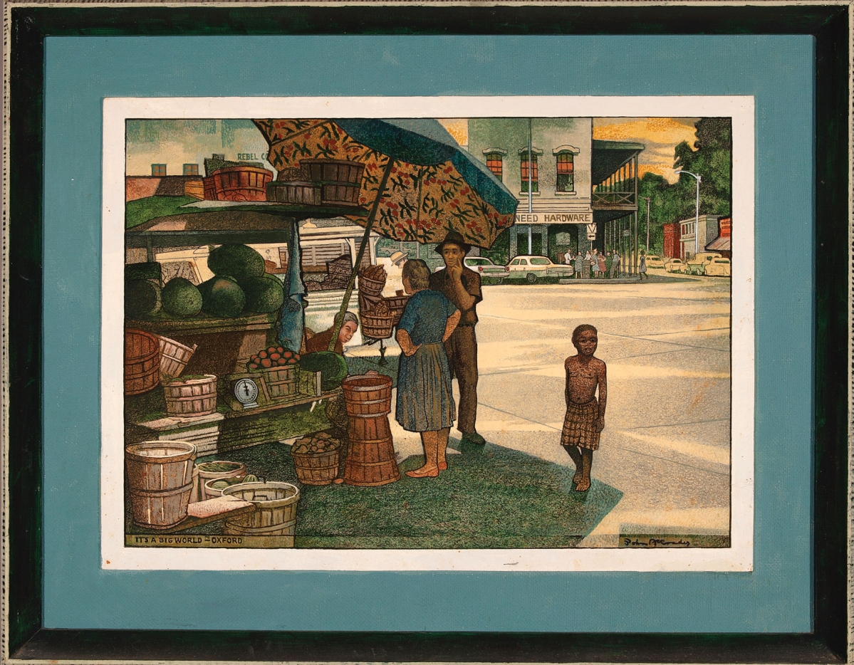Although he worked and taught in New Orleans, John McCrady often drew inspiration from his early years in Oxford, when his father taught at the University of Mississippi. Sold for $28,160, this scene of Oxford's town square includes self-portraits of the artist and his wife at center.