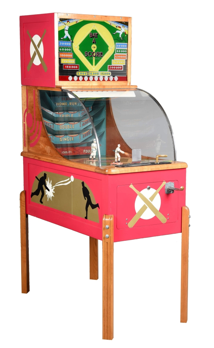 This five-cent H.C. Evans Bat-A-Score Arcade Game, considered by many elite collectors to be the holy grail of early postwar machines with only five examples known, reached $61,500.