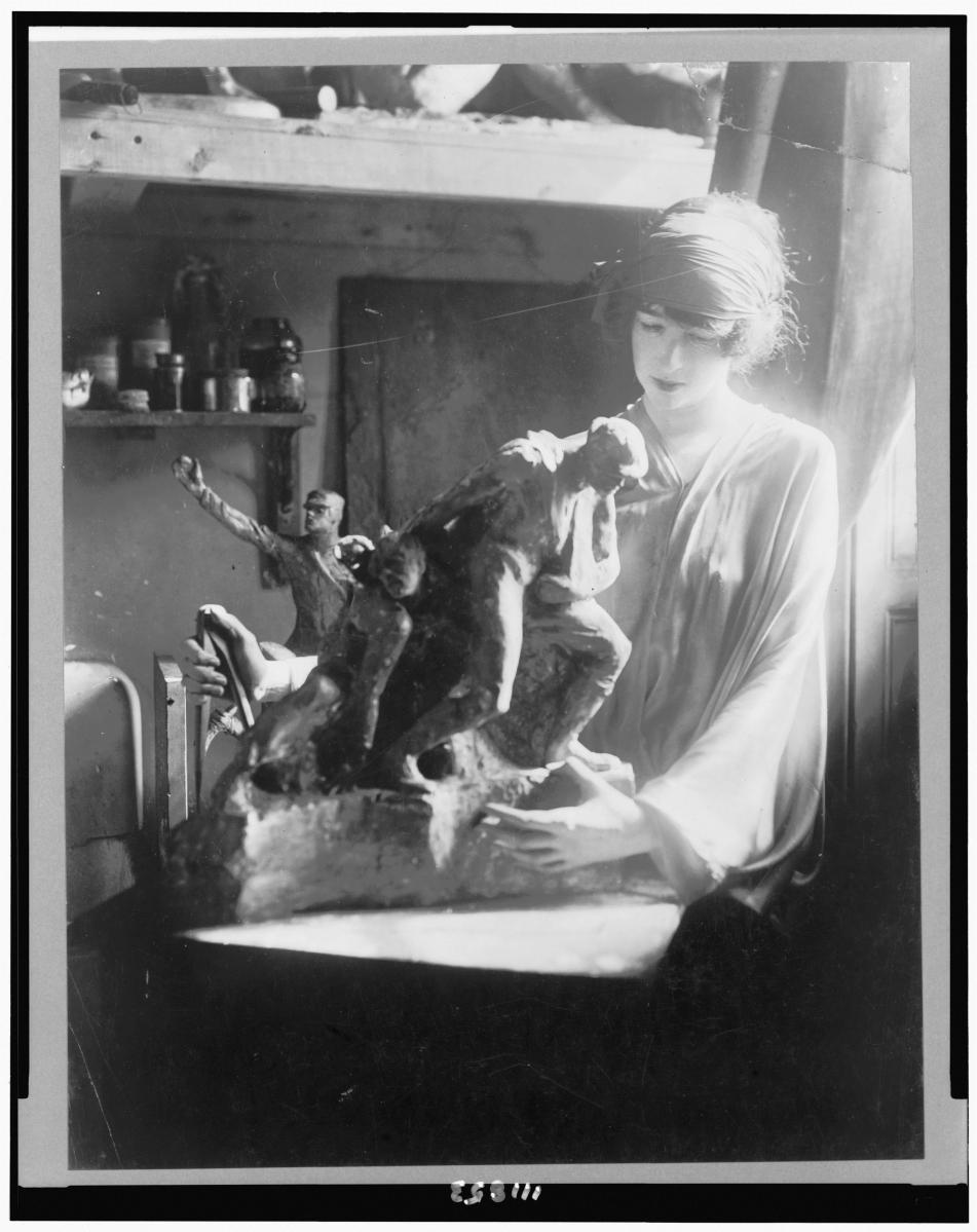 """Gertrude Vanderbilt Whitney Working at Her MacDougal Alley Studio"" by Jean de Strelecki (Polish, 1882–1947), circa 1919. Courtesy Library of Congress."