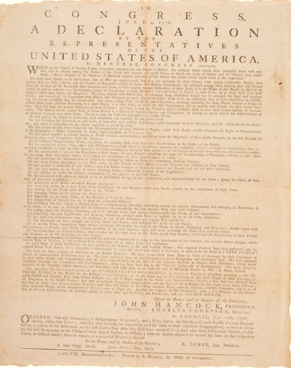 This Declaration of Independence was the top selling lot of the week and the only lot to hit the million-dollar mark when it sold to a private collector for $1,185,000.