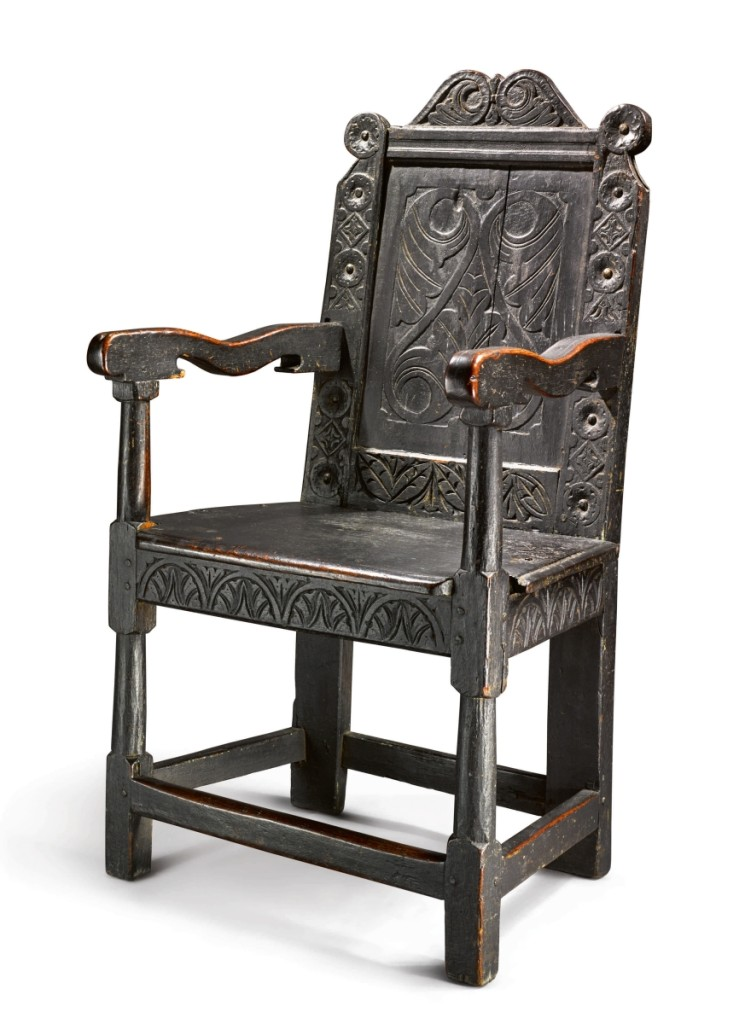 The important Mansfield-Merriam family Pilgrim century wainscot chair was front and center during the sale. Heavily advertised before the sale, it sold for $375,000 to a private collector.