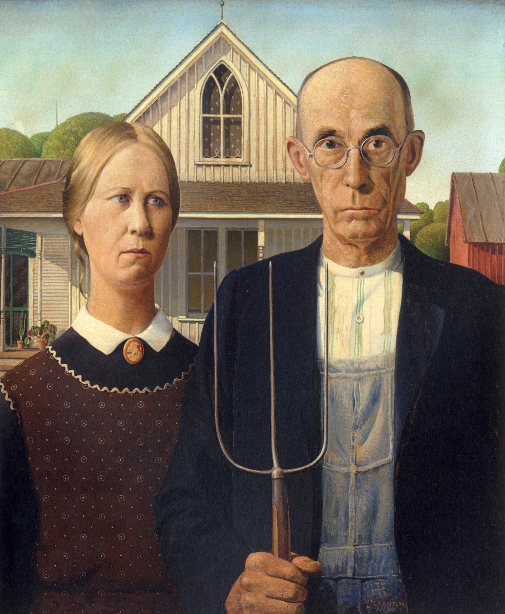 """American Gothic,"" 1930. Oil on composition board, 30¾ by 25¾ inches. Art Institute of Chicago; Friends of American Art Collection. Photo courtesy Art Institute of Chicago/Art Resource, NY.   All works are by Grant Wood. ©Figge Art Museum,   successors to the Estate of Nan Wood Graham/Licensed   by VAGA, New York, NY."