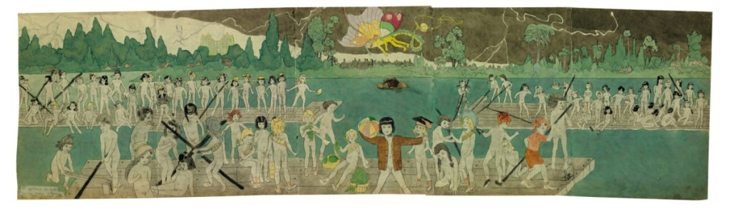 From the collection of Marjorie and Harvey Freed, this double-sided mixed-media work on paper by Henry Darger (1892–1973) topped Christie's cataloged session of Outsider and vernacular art, selling for $672,500 ($200/400,000).