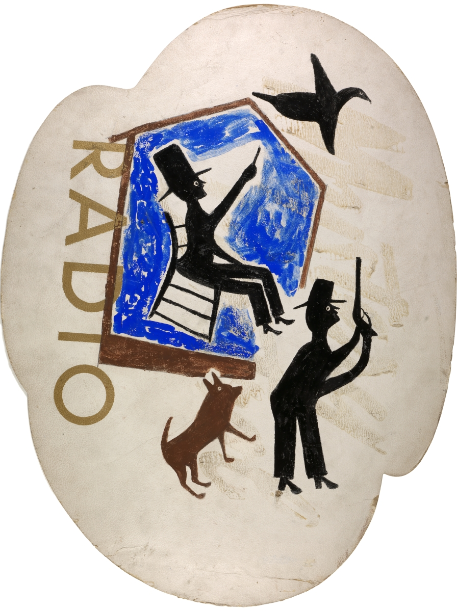 Untitled (Radio) by Bill Traylor, circa 1940–42, Opaque watercolor and pencil on printed advertising paperboard, 32½ by 24½ inches. Smithsonian American Art Museum, museum purchase through the Luisita L. and Franz H. Denghausen Endowment, accession # 2016.14.4.